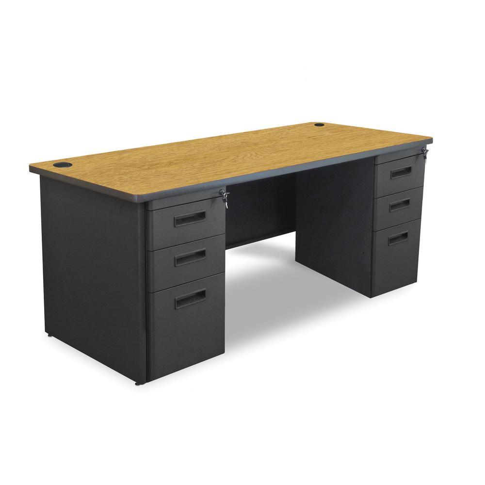 72 in. W x 36 in. D Oak Laminate and Black  Double Full Pedestal Desk