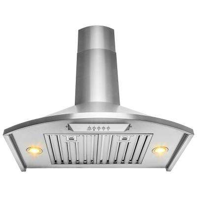30 in. Convertible Kitchen Wall Mount Range Hood with Lights in Brushed Stainless Steel