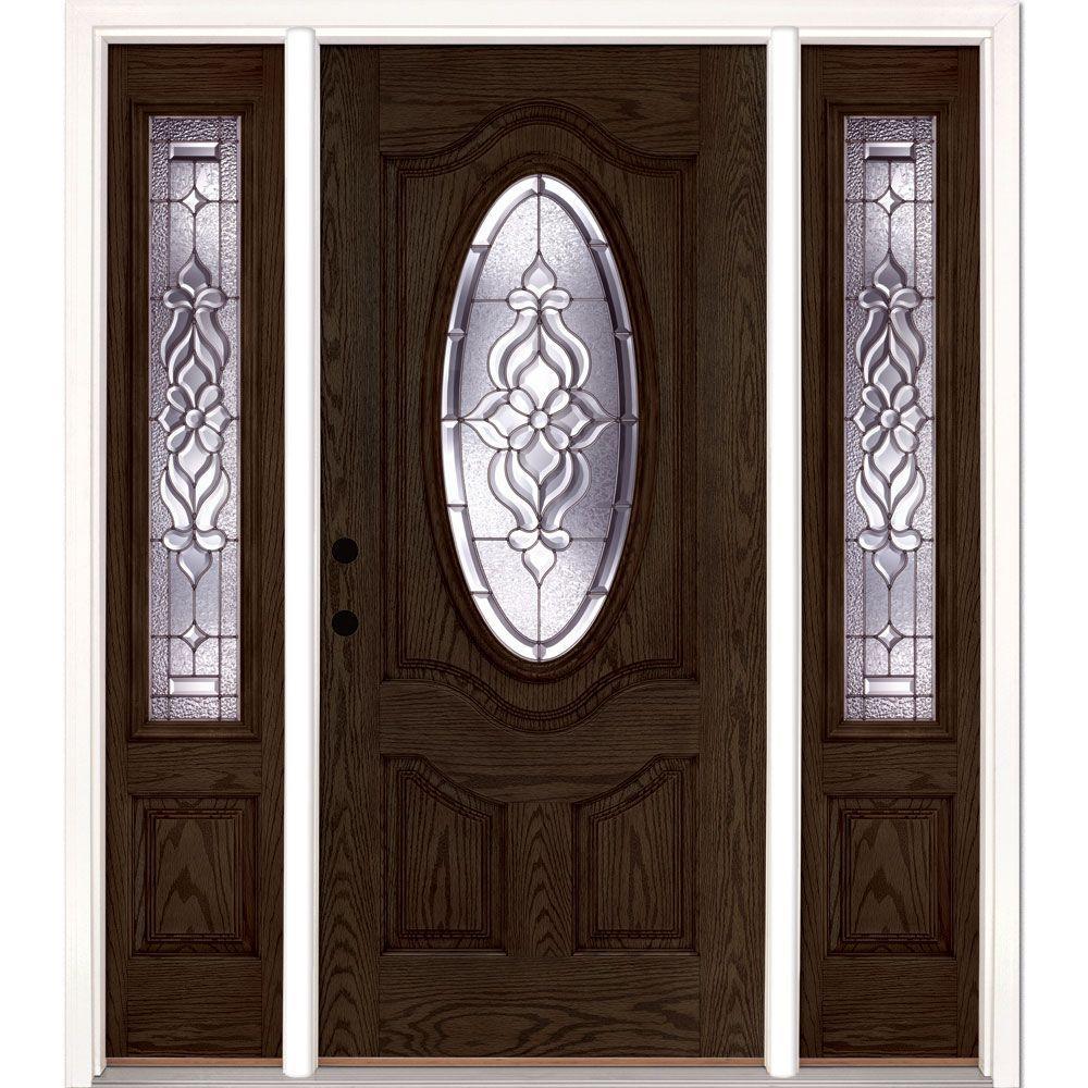 Feather River Doors 67.5 in.x81.625 in. Lakewood Zinc 3/4 Oval Lite Stained Walnut Oak Right-Hand Fiberglass Prehung Front Door w/ Sidelites