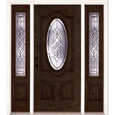 67.5 in.x81.625 in. Lakewood Zinc 3/4 Oval Lite Stained Walnut Oak Right-Hand Fiberglass Prehung Front Door w/ Sidelites