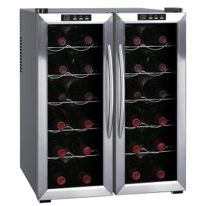 SPT 20-3/8 inch 24-Bottle Thermoelectric Wine Cooler with Double Door Dual Zone and Heating by SPT