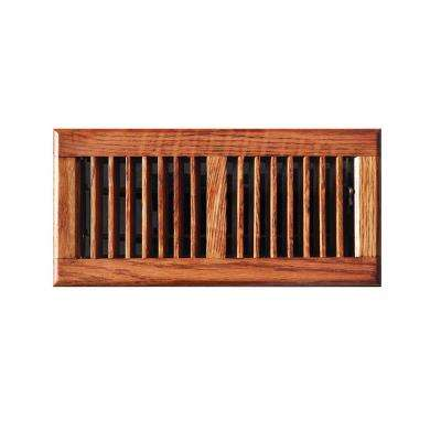 4 in. x 10 in. Oak Floor Register in Medium Finished Oak