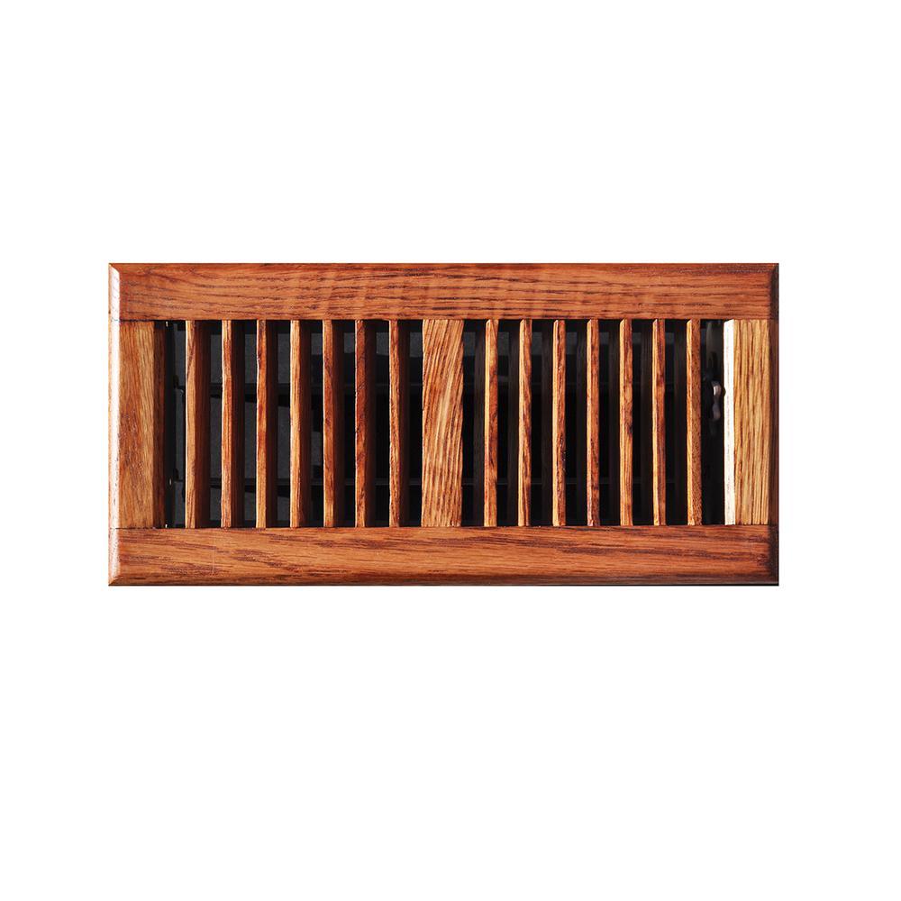 Oak Wood 4 in. x 14 in. 2-Way Wooden Floor Register in Medium Finished