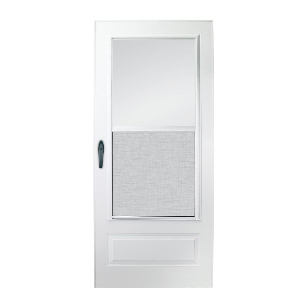 EMCO 36 in. x 80 in. 100 Series Plus White Self-Storing Storm Door ...