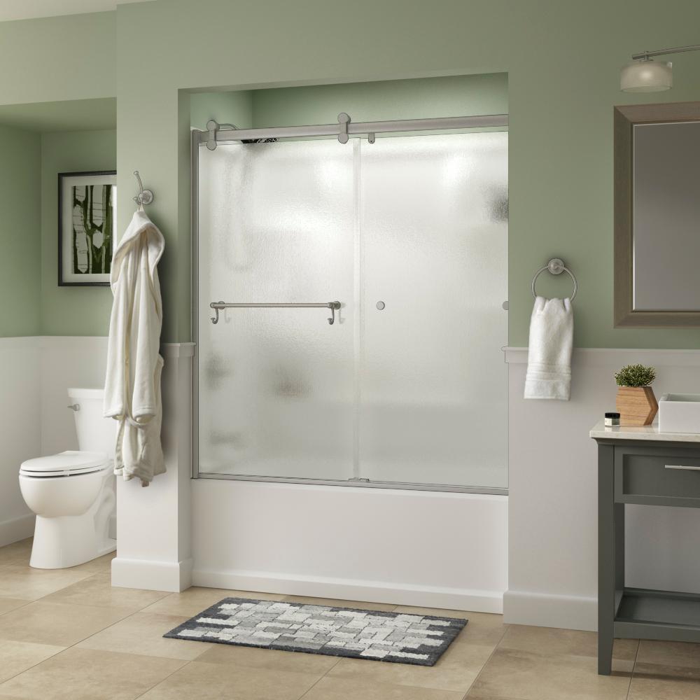 Portman 60 in. x 58-3/4 in. Semi-Frameless Contemporary Sliding Bathtub Door in Nickel with Rain Glass