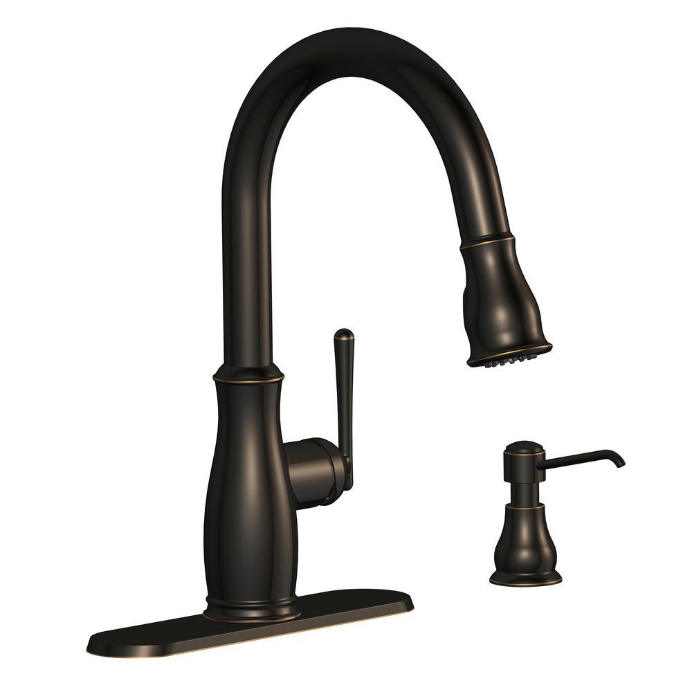 GlacierBay Glacier Bay Kagan Single-Handle Pull-Down Sprayer Kitchen Faucet with Soap Dispenser in Bronze, Oil Rubbed Bronze