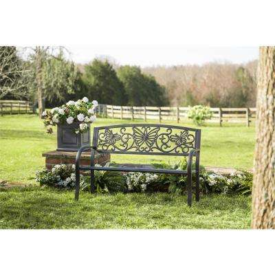 50 in. Butterfly Metal Outdoor Bench