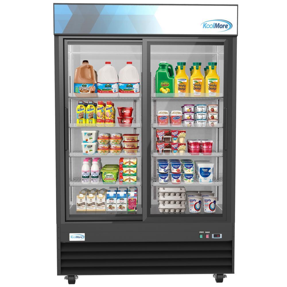 Koolmore 53 in. 45 cu. ft. Commercial 2-Glass Door Merchandiser Refrigerator in Black