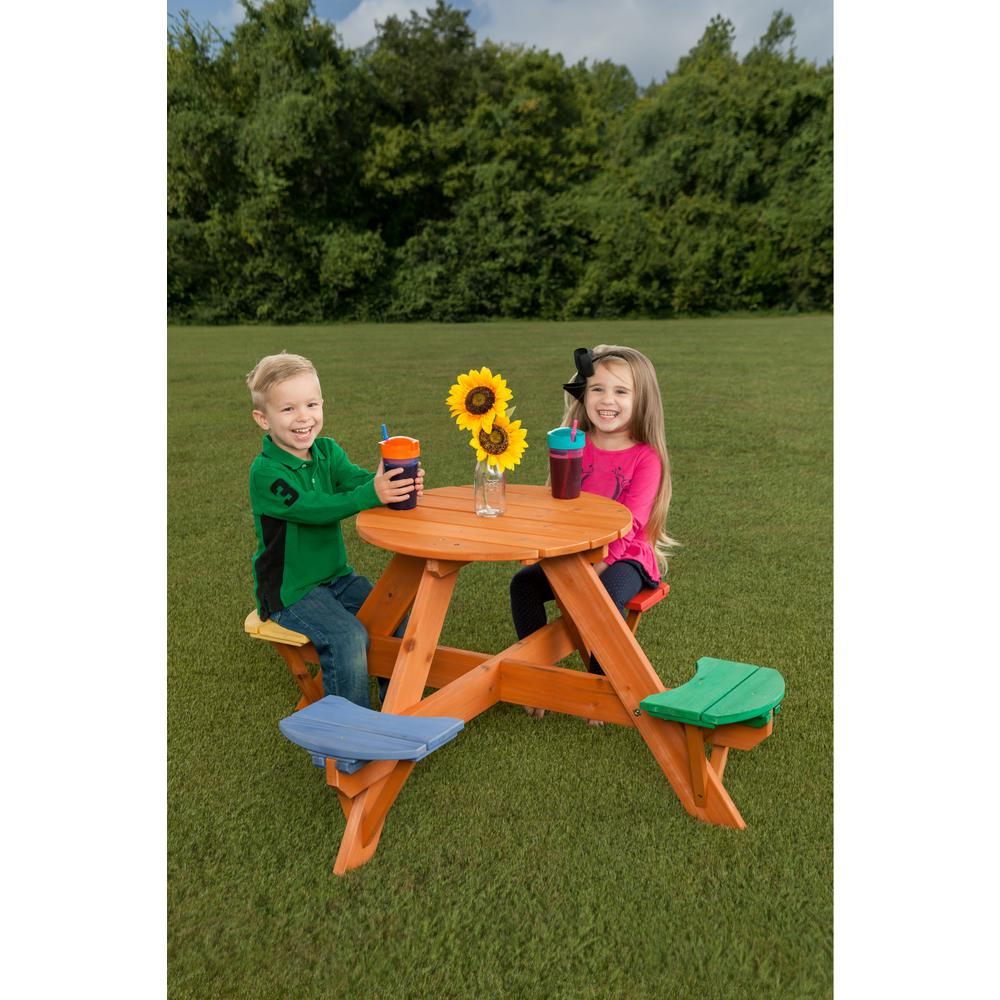 Kids Multicolor Round Wooden Picnic Table with (4-Seats)
