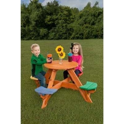 Surprising Kids Multicolor Round Wooden Picnic Table With 4 Seats Gmtry Best Dining Table And Chair Ideas Images Gmtryco