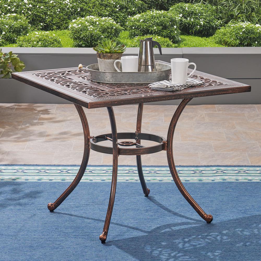Tucson Shiny Copper Square Cast Aluminum Outdoor Dining Table