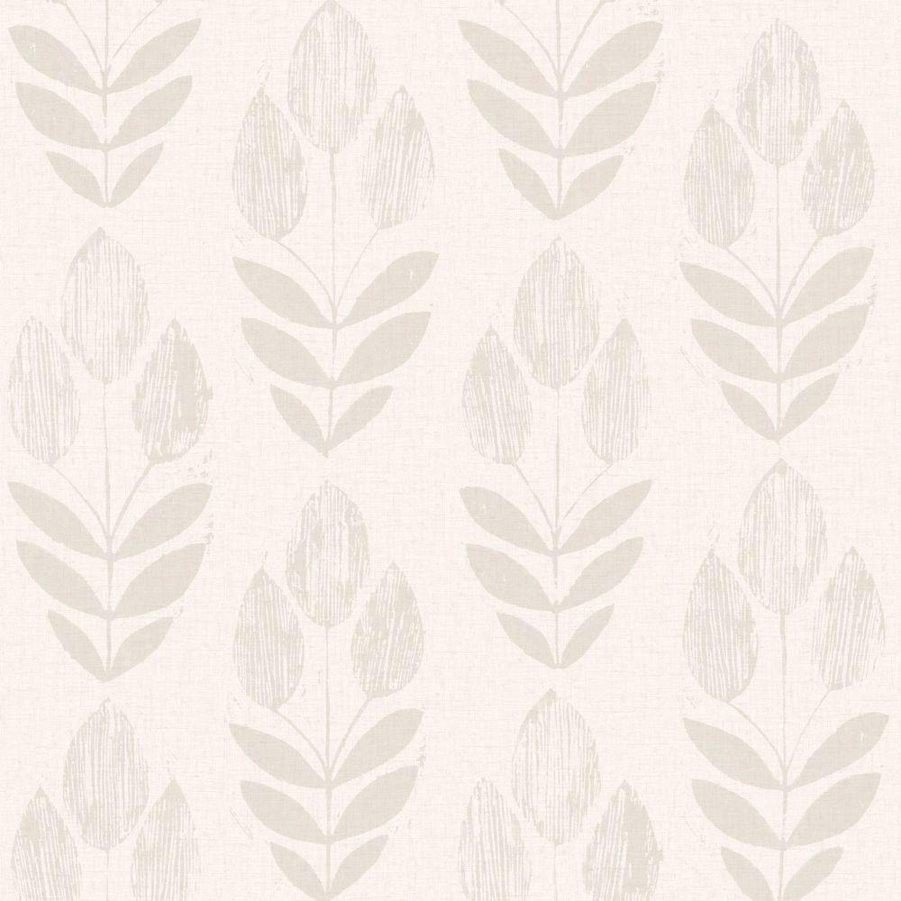 Scandinavian Grey Block Print Tulip Wallpaper Sample