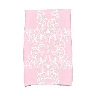 16 in. x 25 in. Light Pink Snowflake Holiday Geometric Print Kitchen Towel