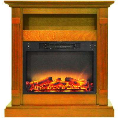 Drexel 34 in. Electric Fireplace with Enhanced Log Display and Teak Mantel