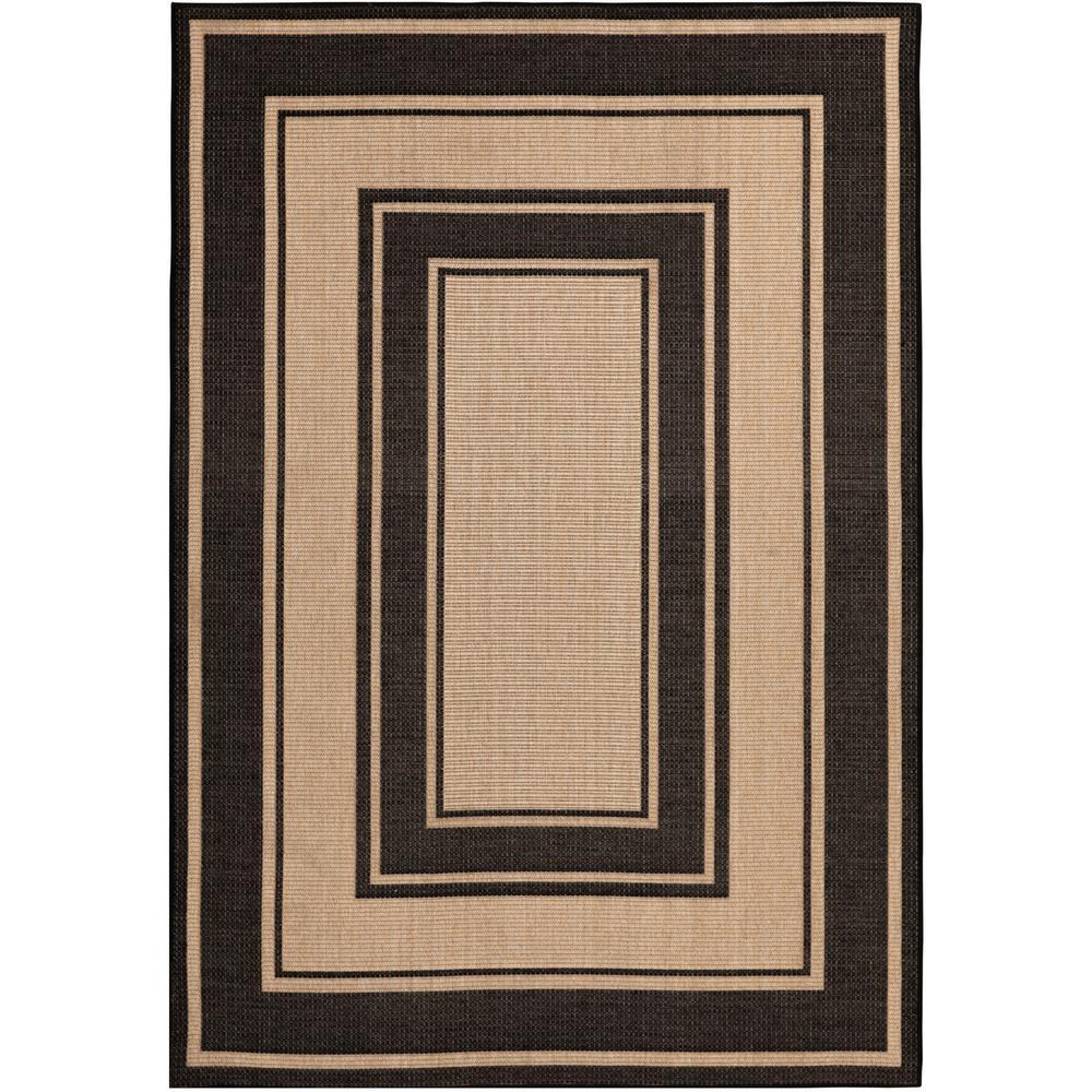 Black and Brown 5 ft. x 7 ft. Border Indoor/Outdoor Area Rug