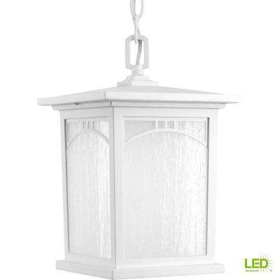 Residence Collection 1-Light Outdoor Textured White LED Hanging Lantern