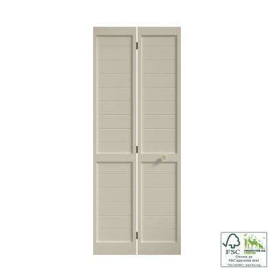 30 in. x 80 in. x 1 in. White Finished Pine Wood Shaker Bi-Fold Louver with Hardware Included