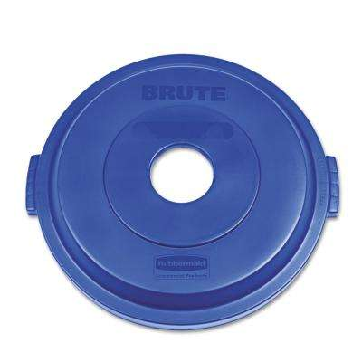 BRUTE 32 Gal. Blue Round Trash Can Bottle and Can Recycling Lid