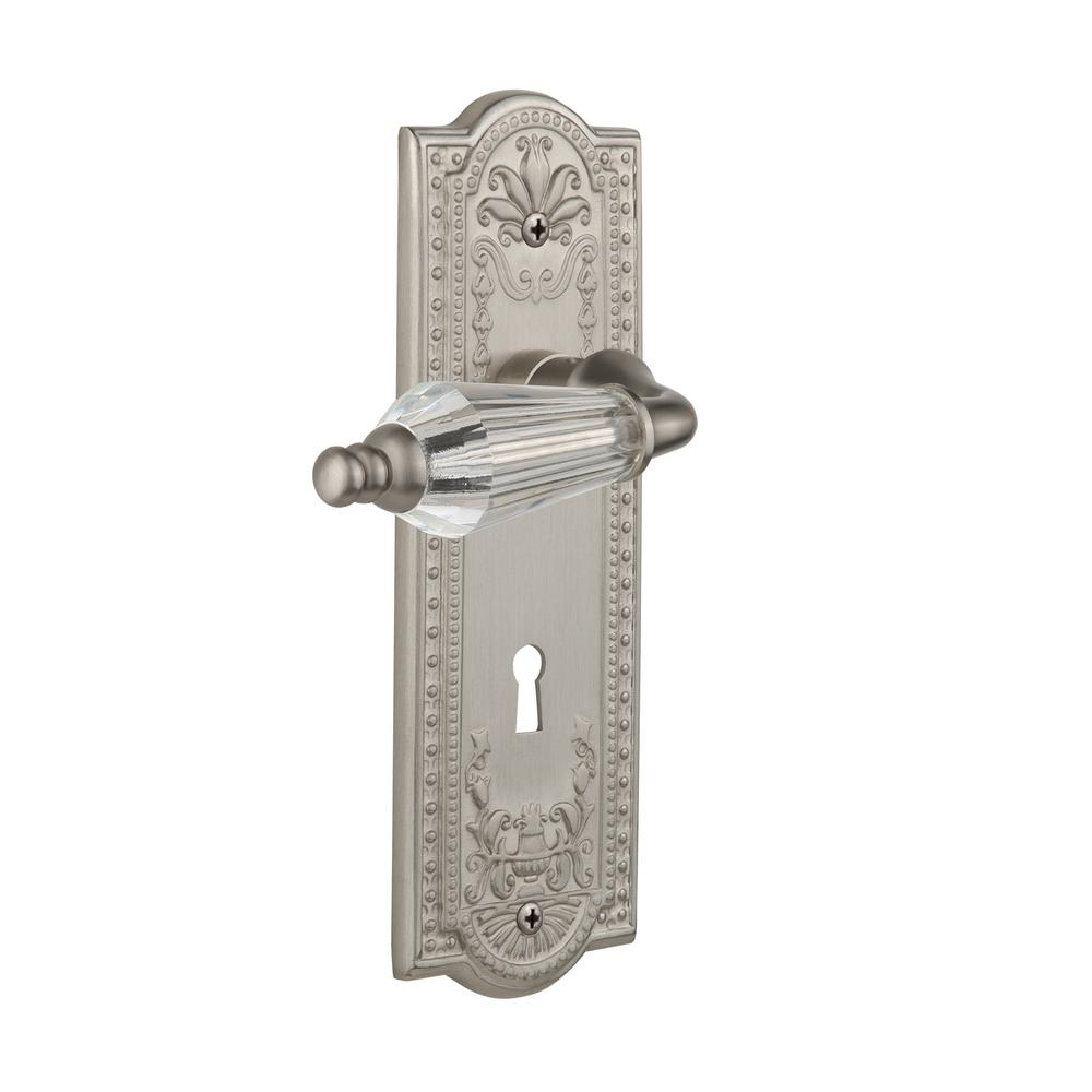 Meadows Plate With Keyhole 2 3/4 In. Backset Satin Nickel Privacy Parlor