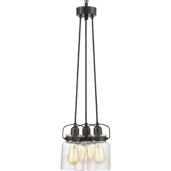 Calhoun Collection 3-Light Antique Bronze Chandelier with Shade