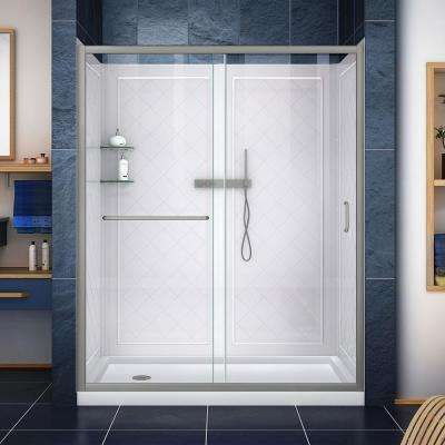 Infinity-Z 32 in. x 60 in. Semi-Frameless Sliding Shower Door in Brushed Nickel with Left Drain Base and Back Walls