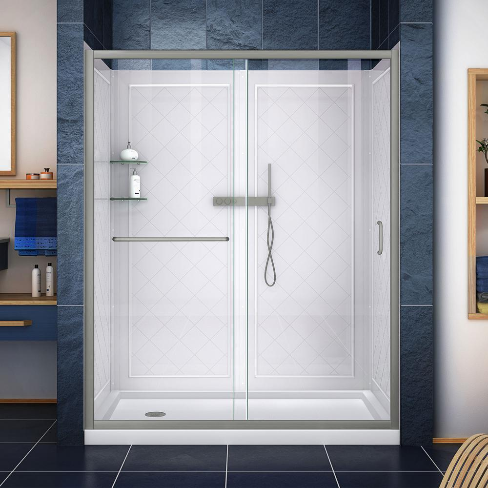 DreamLine Infinity-Z 36 in. x 60 in. Semi-Frameless Sliding Shower Door in Brushed Nickel with Left Drain Base and BackWalls