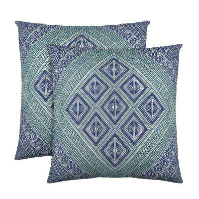 Kenzie 18 in. x 18 in. Teal Decorative Pillow (2-Pack)