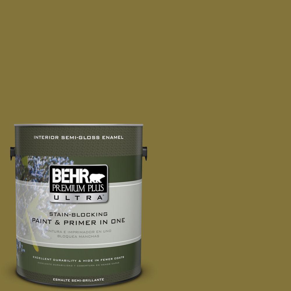 1-gal. #390D-7 Marsh Grass Semi-Gloss Enamel Interior Paint