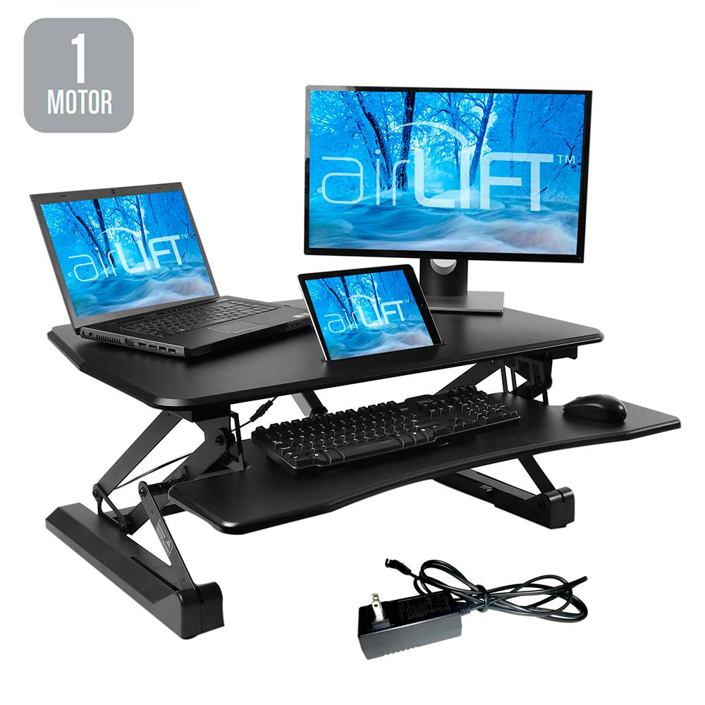 AIRLIFT Black Electric Standing Desk Converter with USB Charging and Keyboard