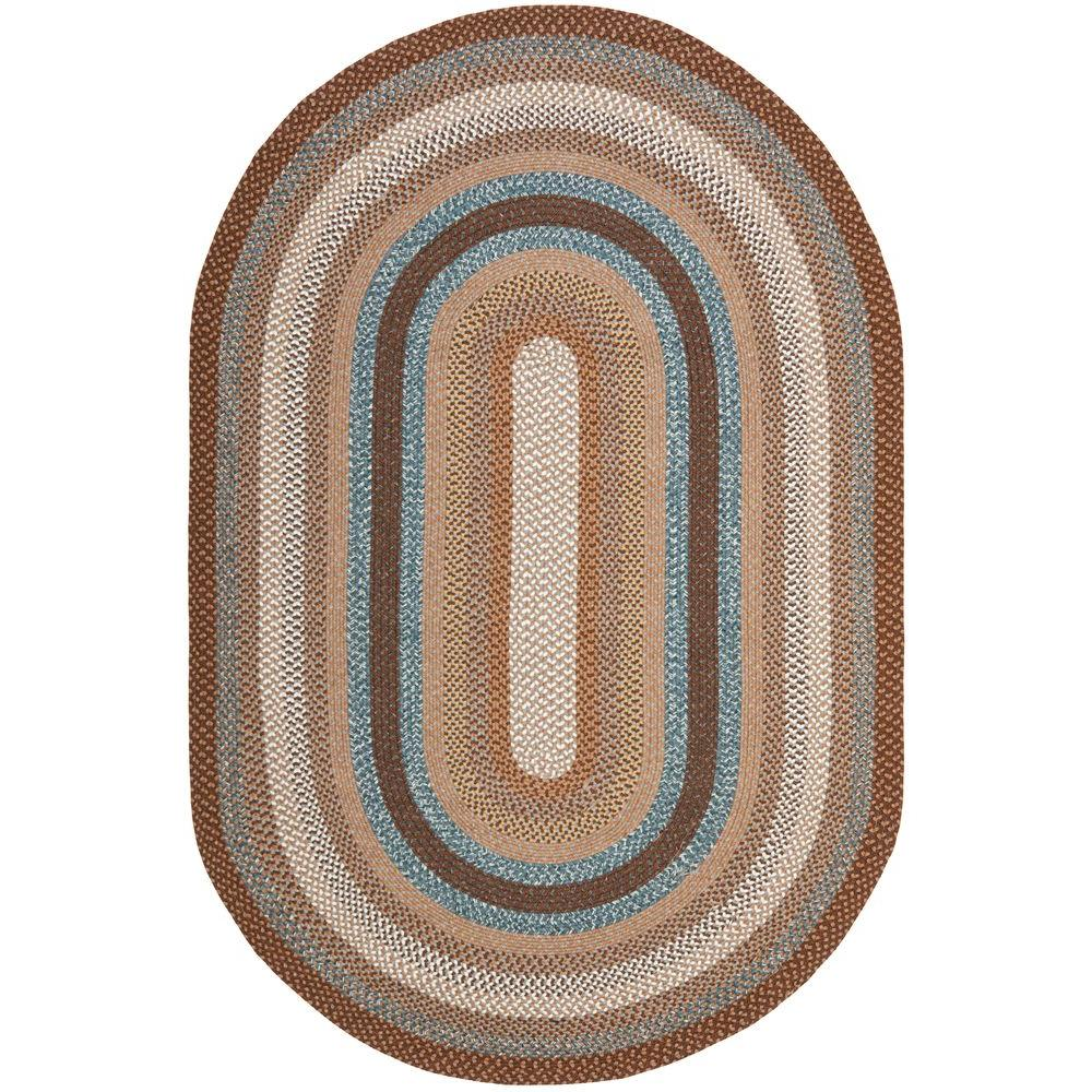Braided Brown/Multi 5 ft. x 8 ft. Oval Area Rug