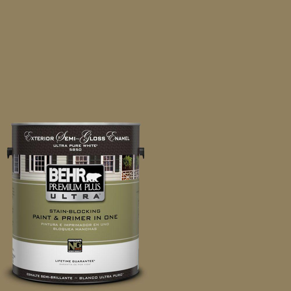 BEHR Premium Plus Ultra 1-Gal. #UL190-21 Gingko Tree Semi-Gloss Enamel Exterior Paint