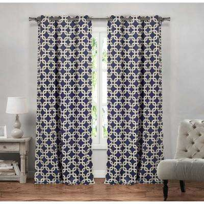 Geometric Navy Polyester Blackout Grommet Window Curtain 37 in. W x 84 in. L (2-Pack)