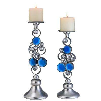 14 in. x 16 in. Just Dazzle Candle Holder Set in Silver and Turquoise