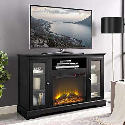 52 in. Highboy Fireplace Wood TV Stand Console - Black