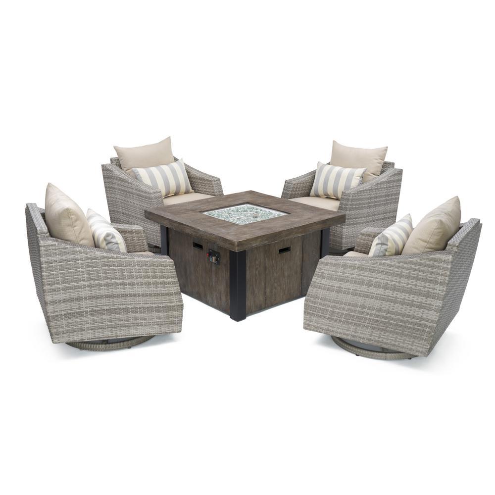 Wicker Fire Pit Conversation Set Grey Cushions