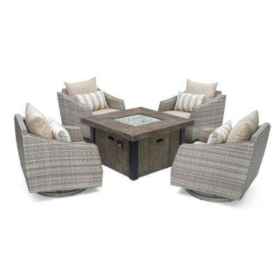 Cannes 5-Piece All-Weather Wicker Fire Pit Patio Conversation Set with Slate Grey Cushions