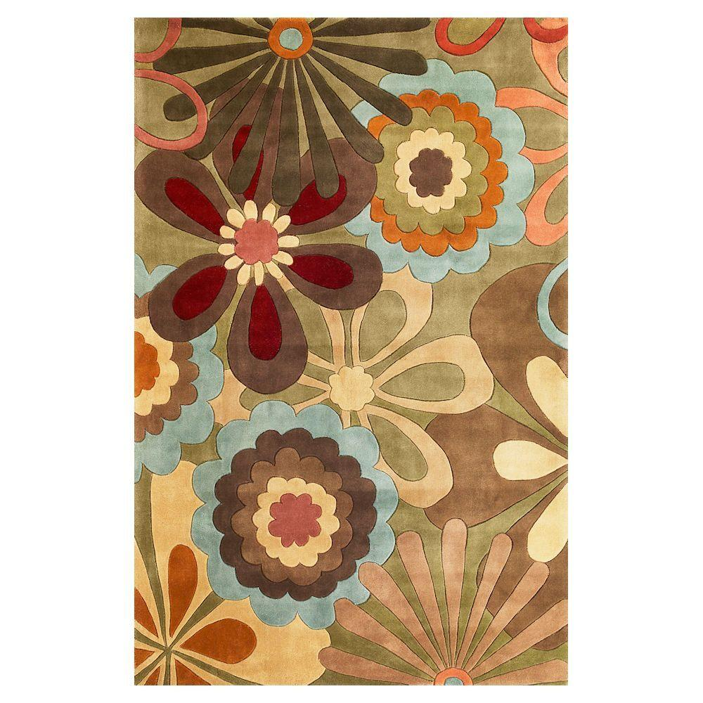 Kas Rugs Floral Overlay Sage/Multi 5 ft. 3 in. x 8 ft. Area Rug