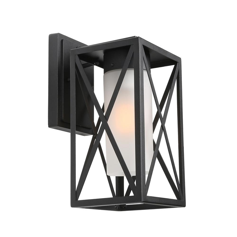 Curavan 1-Light Black Caged Outdoor Wall Lantern Sconce