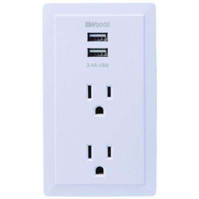 2-Outlet/2-USB Plug in Charging Wall Tap