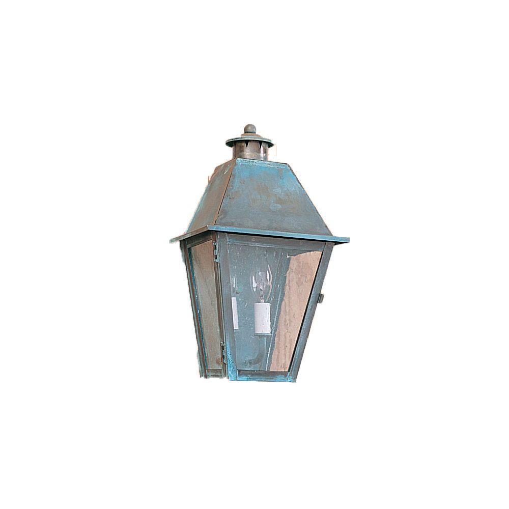 Illumine 19 in. 2-Light Distressed Brass Outdoor Lantern