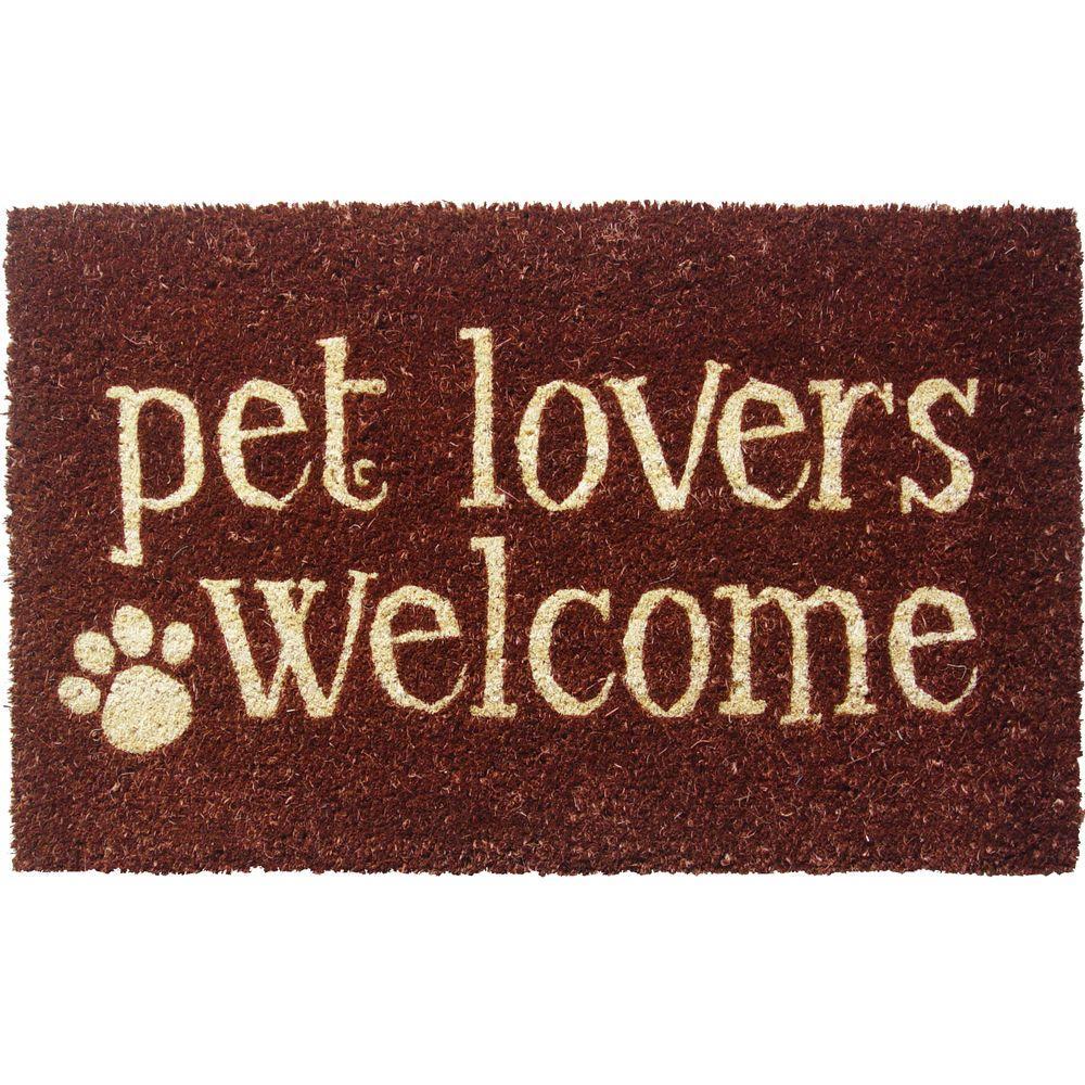 Entryways Pet Lovers Welcome 17 in. x 28 in. Non Slip Coir Door Mat