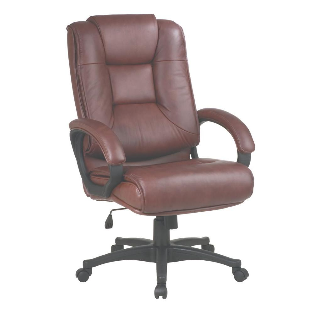 Work Smart Burgundy Leather High Back Executive Office Chair ...