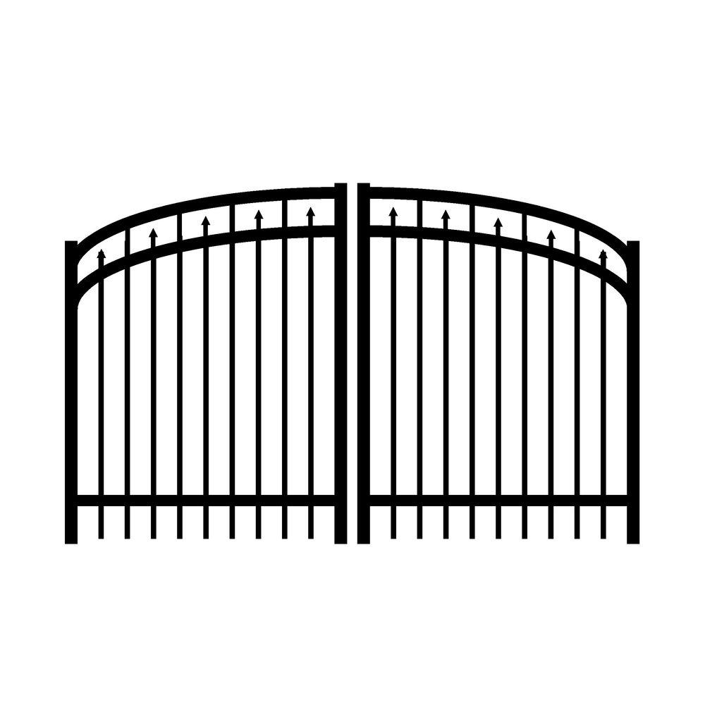 Jerith Adams 8 ft. W x 5 ft. H Double Drive Aluminum Black Arched Gate-DISCONTINUED