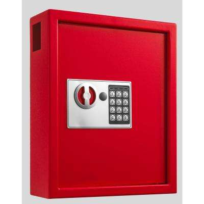40-Key Steel Digital Lock Key Cabinet, Red