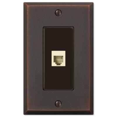 Manhattan 1 Gang Phone Metal Wall Plate - Aged Bronze