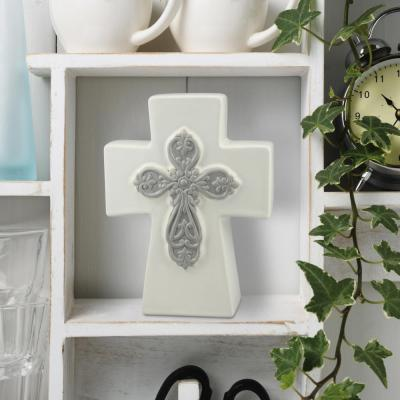 7 9 in. White Ceramic Thick Cross with 3D Details Cross