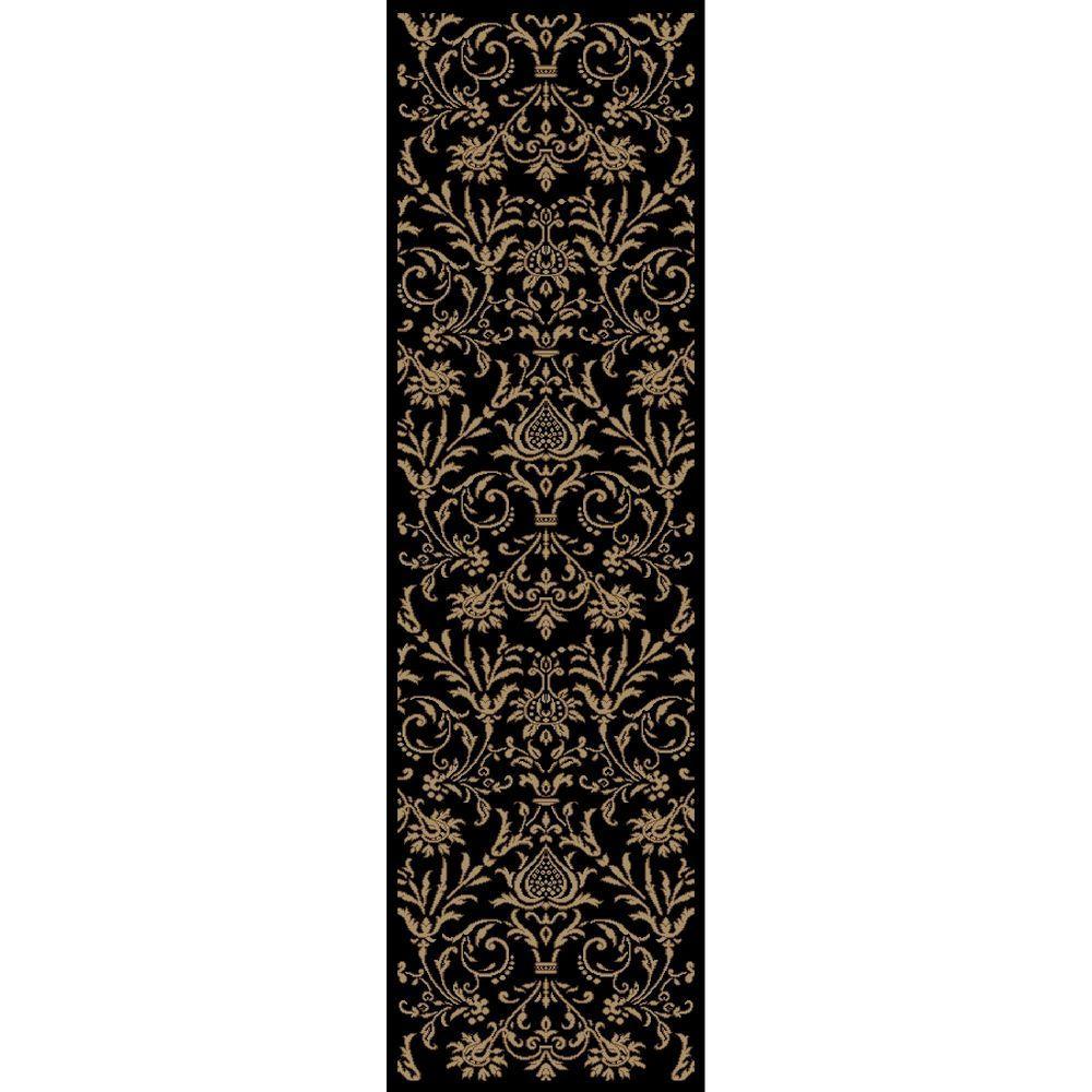 Jewel Damask Black 2 ft. 3 in. x 7 ft. 7
