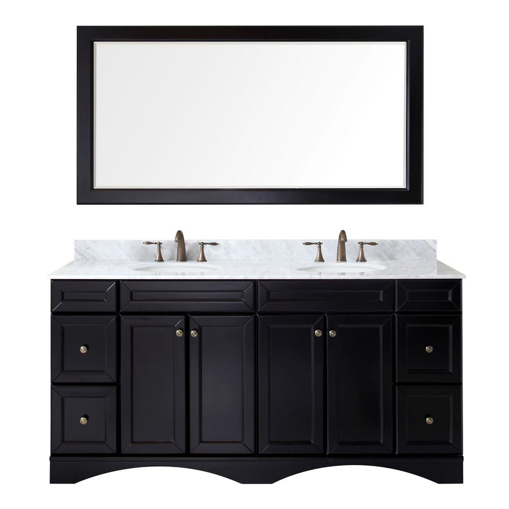 Virtu USA Talisa 72 in. W Bath Vanity in Espresso with Marble Vanity Top in White with Round Basin and Mirror
