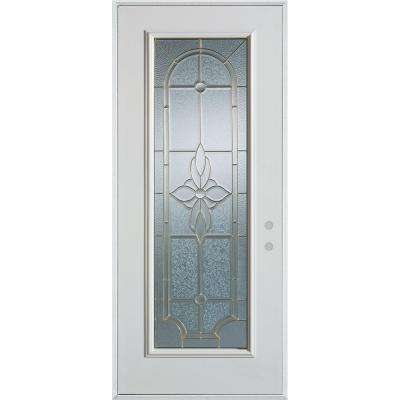 33.375 in. x 82.375 in. Traditional Brass Full Lite Painted White Left-Hand Inswing Steel Prehung Front Door