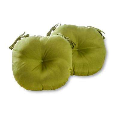 Solid Summerside Green 15 in. Round Outdoor Seat Cushion (2-Pack)